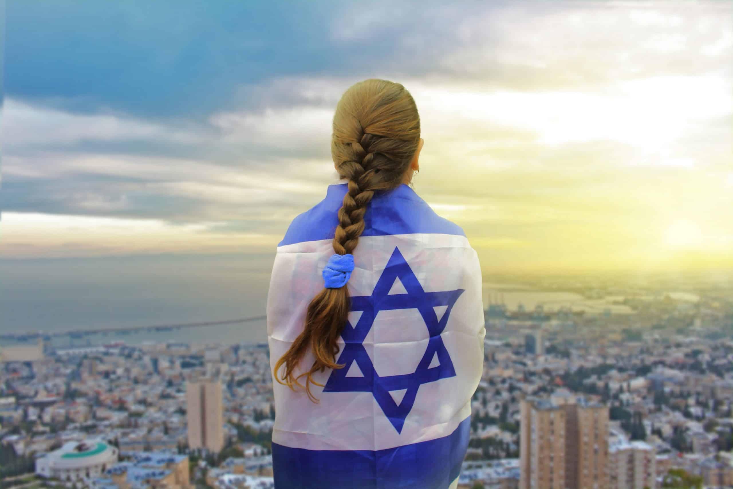 Israel girl looking at Jerusalem