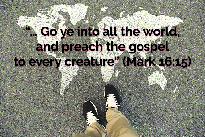 Missions image with Mark 16:15 quoted